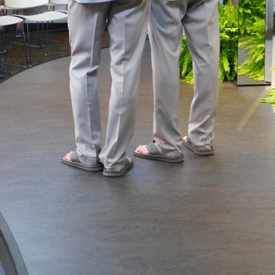 Chris & Eric ceremony flip-flops
