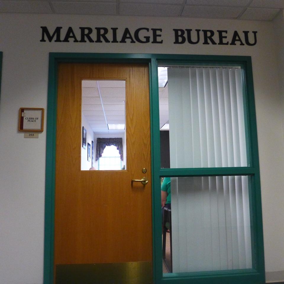 marriage bureau door sign