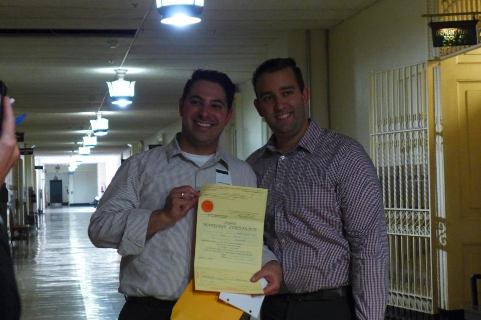 Philadelphia Joe and Steve showing marriage license