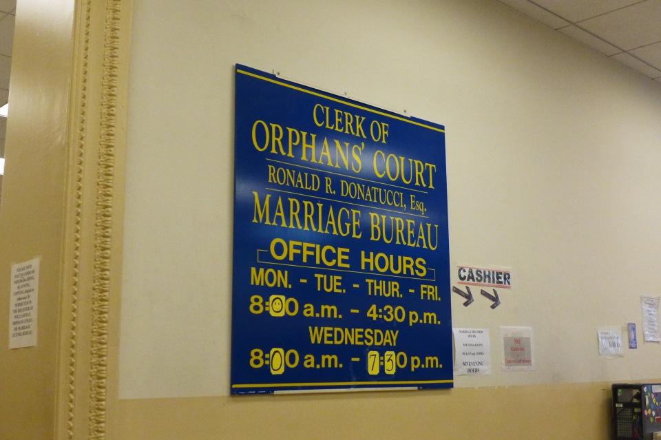 Philadelphia Orphan's Court blue sign