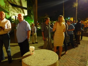 Miami line out the door OK photo, couple in front